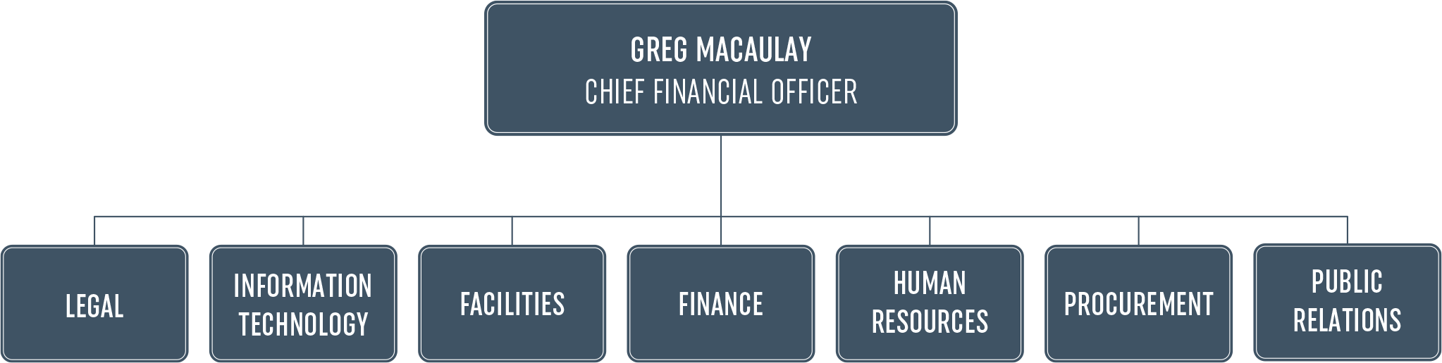 Flowchart showing Greg Macaulay, Chief Financial Manager in charge of Legal, Information Technology, Facilities, Finance, Human Resources, Procurement and Public Relations